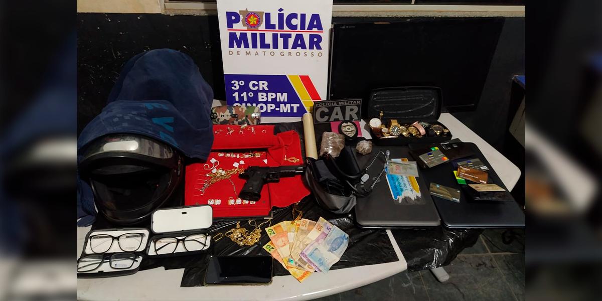 Casal é preso acusados de roubos em empresas de Sinop. (Foto: Assessoria 11° BPM Sinop)