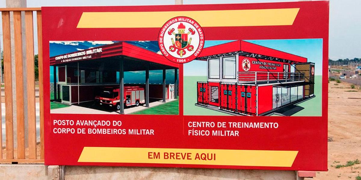 Obras do novo posto avançado do 4º batalhão em Sinop. (Foto: Só Notícias / Guilherme Araújo)