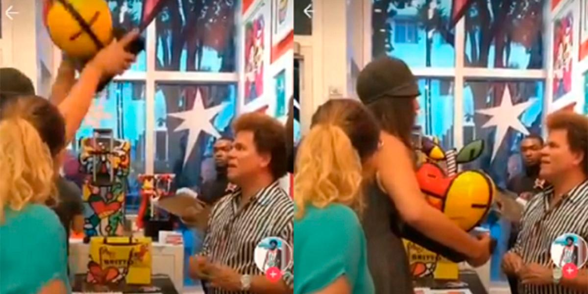 Vídeo mostra o momento que a mulher se vinga. (foto: Reprodução)