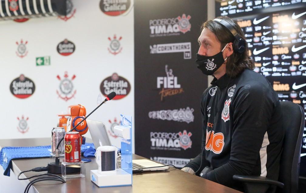 Goleiro Cássio concedeu entrevista coletiva nesta quinta-feira — Foto: Rodrigo Coca / Ag.Corinthians