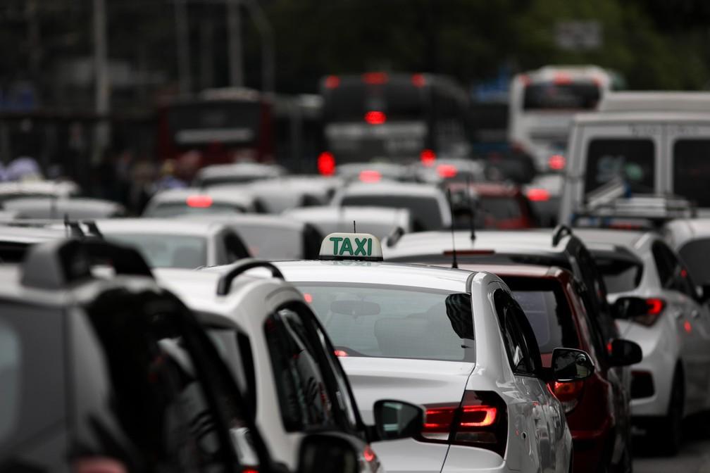 Trânsito na cidade de São Paulo em imagem antes da pandemia: Câmara vota projeto de leis de trânsito — Foto: Marcelo Brandt/G1
